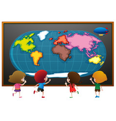 Children looking at worldmap poster vector