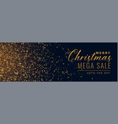 christmas sale golden sparkle banner vector image