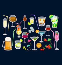 cocktails on black background for web and print vector image