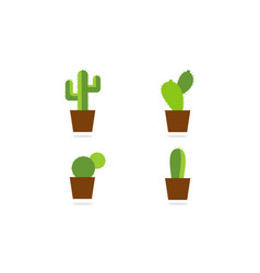 collection cactus logo vector image