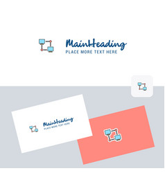 computer networks logotype with business card vector image