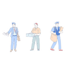 Delivery fast service postman with bag and letter vector
