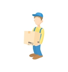 Delivery man holding and carrying cardbox icon vector image