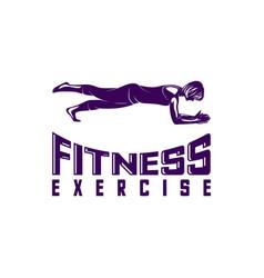 design woman fitness exercise logo gymnastics vector image