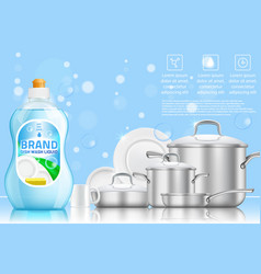 dishwashing advertising realistic template vector image