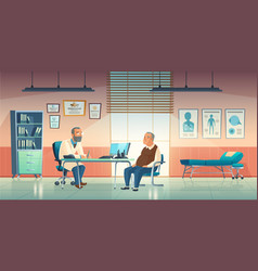 Doctor and patient sit in medical office vector