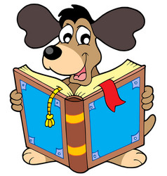 Dog reading book vector