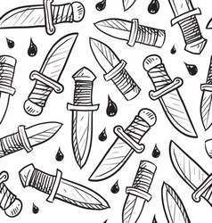 doodle knives pattern seamless vector image vector image