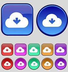 Download from cloud icon sign A set of twelve vector image