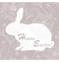 easter rabbit easter card with floral pattern vector image