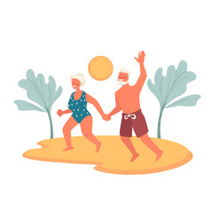 Elderly couple on beach enjoying retirement vector