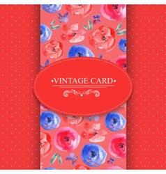 Elegance Vintage Floral Card with Roses vector image vector image