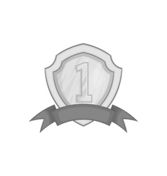 First place shield icon black monochrome style vector