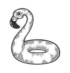 flamingo swim ring sketch engraving vector image