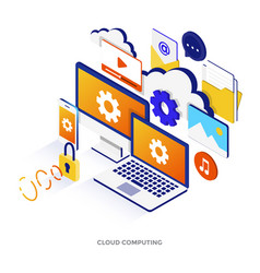 flat color modern isometric - cloud computing vector image