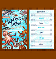 Fresh seafood and fish food restaurant menu vector