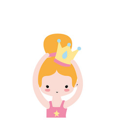 Girl practice performance ballet with bun hair and vector