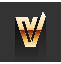 Gold Letter V Shape Logo Element vector