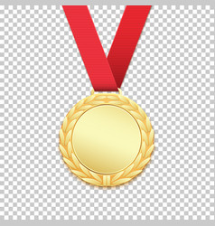 gold medal isolated on transparent background vector image