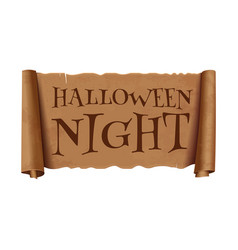 Halloween night - text on scroll greeting ribbon vector
