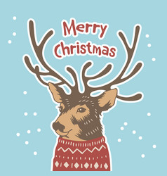 hand drawn holiday card in sweater merry cristmas vector image