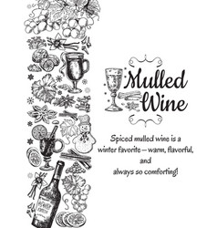 hand drawn mulled wine poster black and vector image
