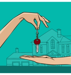 Hand holding house key vector