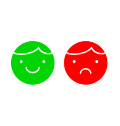 happy and unhappy faces simple icons green and vector image