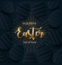 happy easter greeting banner with a gold lettering vector image