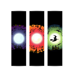 happy halloween party circle gradient banner vector image