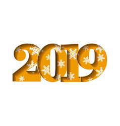happy new year card gold 3d number 2019 with vector image