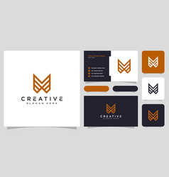 initials letter m logo design and business card vector image
