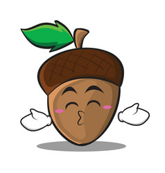 Kissing closed eyes acorn cartoon character style vector