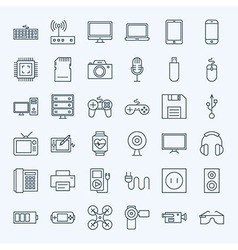 Line Gadgets and Devices Icons Set vector image