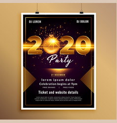 Lovely golden 2020 new year party flyer template vector