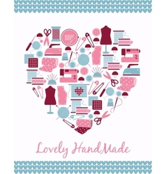 Lovely handmade Heart shape sign of sewing vector