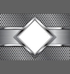 Metal background white glass plate on perforated vector