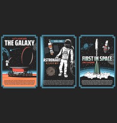 Outer space explore retro vintage posters vector