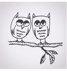 owl free hand drawn vector image