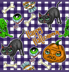 pattern halloween element patches pumpkin vector image