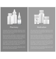 pharmacy medication set posters treatment remedy vector image