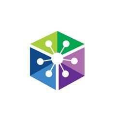 polygon colorful technology logo vector image vector image