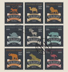 postage stamps on theme animals and vector image