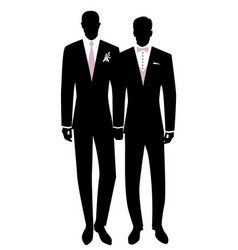 Queer wedding gay groom couple newlyweds vector