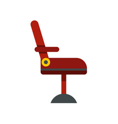 Red barber chair icon flat style vector