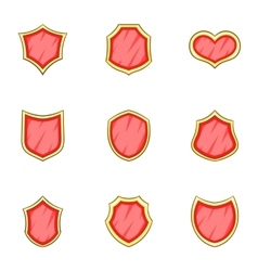 Red blank classic shield icons set cartoon style vector image