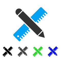 Ruler and pencil design tools flat icon vector