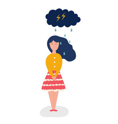 sad and depressed girl and storm cloud vector image