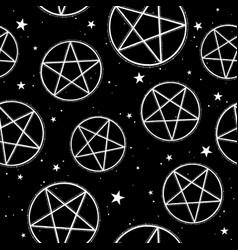 seamless pattern pentagrams on black background vector image
