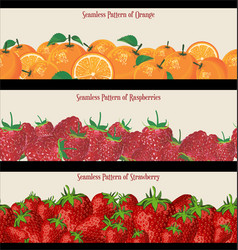 seamless pattern raspberries strawberries vector image